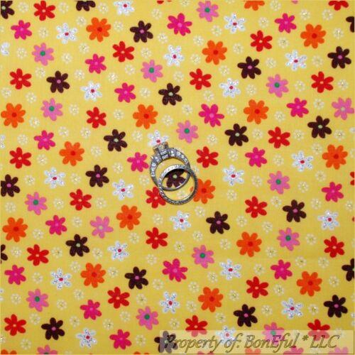 BonEful FABRIC FQ Cotton Quilt Yellow Bright Orange Pink Flower Glitter Dot RARE