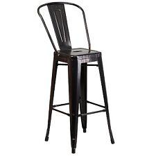 Flash Furniture 30 in. High Black-Antique Gold Metal Indoor-Outdoor Barstool New