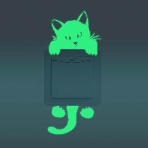 Glow in the Dark sticker pour interrupteur de lumière À faire soi-même Chat Interrupteur Mur Décoration Autocollant Art Ga