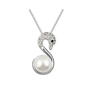 Détails sur Collier cygne serti de perle nacrée et Cristal Swarovski  Element NEUF