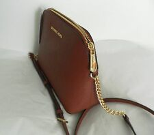 NWT MICHAEL Michael Kors Cindy Large Dome Crossbody Saffiano Leather Brick Red