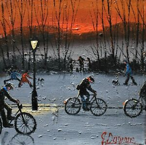 Lovely-James-Downie-Original-Oil-Painting-Dog-Walking-Time-Northern-Art
