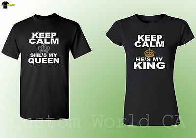 Couple Matching Shirts - He is My king She is my Queen Keep Calms His and Hers