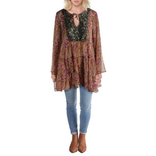Aratta Silent Journey Womens Helena Sequined Boho Peasant Top Blouse BHFO 5995