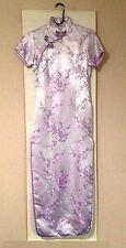Qipao Silk Lavender Cheongsam Mid Length Summer Dress Chinese Teen Age