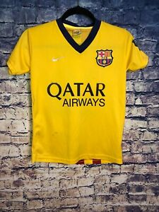 san francisco 72c99 3b451 Details about Fransheska Yellow FCB Messi Striped #10 Soccer Jersey Qatar  Airways Size 14