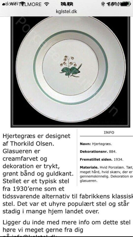 Smukt 'antik' KÆMPE Hjertegræs stel, 1930'erne/Royal