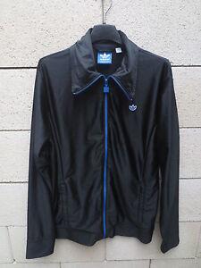 Détails sur Veste ADIDAS rétro vintage noir TREFOIL tracktop jacket giacca M