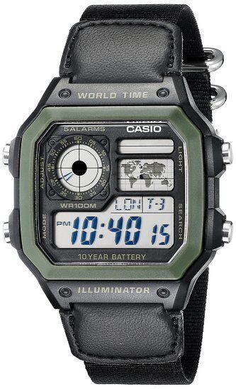 CASIO WORLD TIME DIGITAL WATCH AE1200WHB-1BV - 5 Alarm - Chrono etc