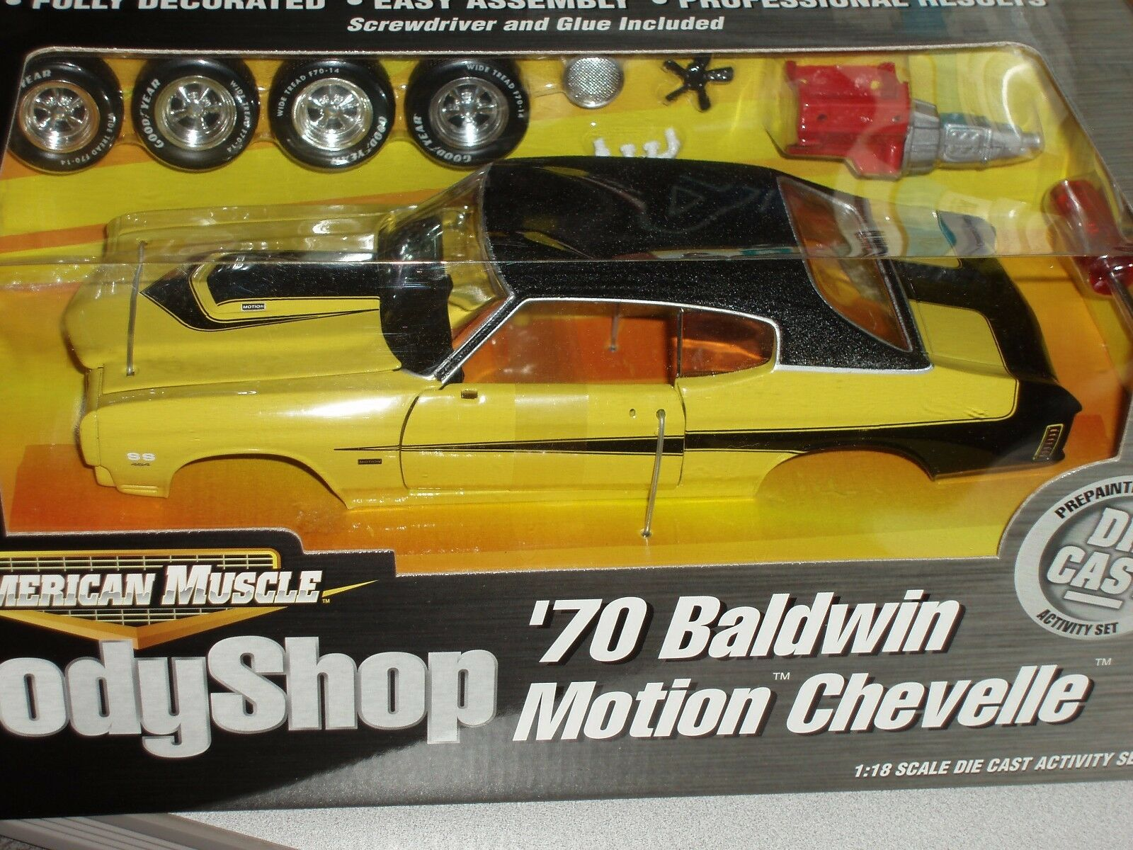 Ertl 1970 Chevrolet Chevelle Baldwin Motion Body Shop Conjunto Modelo Kit 1 18 muy difícil de encontrar