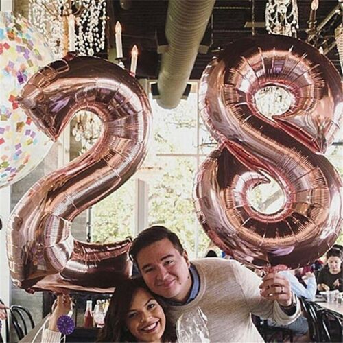 Giant Rose Gold Foil Number Helium Balloons Birthday Party Wedding Decoration