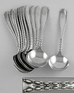Tiffany-MARQUISE-Sterling-long-handle-chocolate-spoons-1902-set-of-12