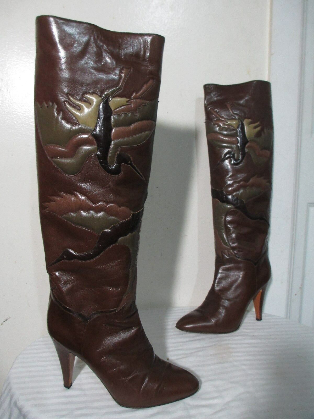 BOTTICELLI WMN'S BRN LEATHER W  SWANS INLAY HEELS PULL ON TALL BOOTS 37½ US 7