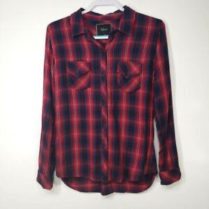 Rails-Women-039-s-Top-Medium-M-Red-Blue-Plaid-Long-Sleeve-Button-Up-Collared
