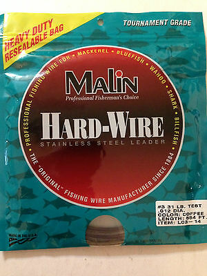 Malin Hard Wire Size 31 pound 554 Ft Fishing Wire Leader LC3-14