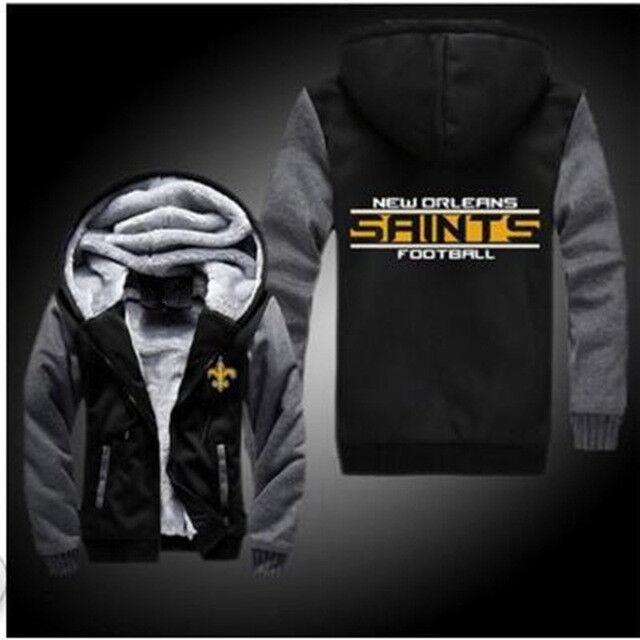 New Orleans Saints Fußball Kapuze Reißverschluss Jacke Winter Warm Schwarz &