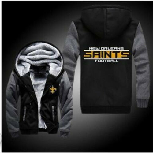 Details About New Orleans Saints Football Hoodie Zip Up Jacket Coat Winter Warm Black And Gray
