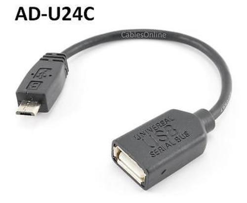 """CablesOnline AD-U24C 4/"""" USB A-Type Female to Micro-B 5-Pin Male Adapter Cable"""