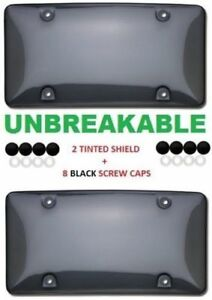 2-UNBREAKABLE-TINTED-SMOKE-LICENSE-PLATE-TAG-HOLDER-FRAME-BUMPER-SHIELD-COVERS