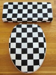 Excellent Details About Black White Nascar Checkered Flag Bathroom Elongated Toilet Seat Lid Cover Set Machost Co Dining Chair Design Ideas Machostcouk