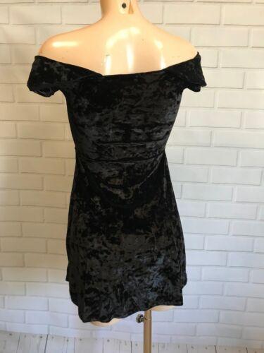 Quiz Stunning Black Velvet Bardot Off Shoulder Skater Dress SIZE 8-16