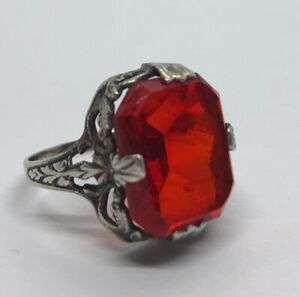 Vintage-Sterling-Silver-Ring-925-Size-5-Deco-Red-Faux-Ruby-Glass