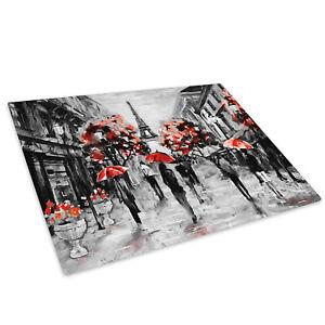 Black White Red Paris Retro Glass Chopping Board Kitchen