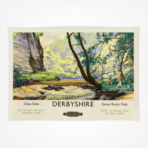 Derbyshire Chee Dale Great Rocks Dale A4 Vintage travel railway poster