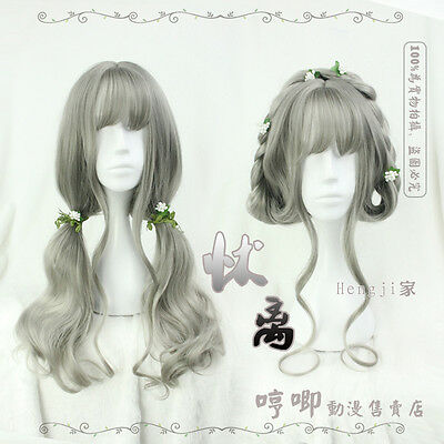 Japanese Mori Girl Harajuku Gray Fairy Sweet Lolita Long Curly hair Cosplay Wig
