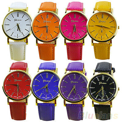Men's Women's Geneva Roman Numerals Faux Leather Band Analog Quartz Wrist Watch