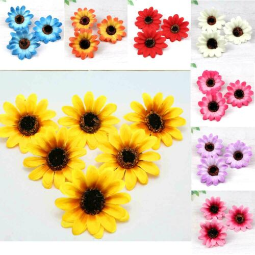 50 Pcs Gerbera Sunflower Silk Artificial Flowers Head Wedding Party Decorations