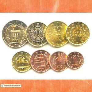 Kursmuenzensatz-San-Marino-2012-alle-8-Muenzen-1c-2-Euro-Muenze-KMS-Satz-Eurosatz