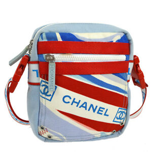 51c8ac29363 Auth CHANEL Sports Line CC Cross Body Shoulder Bag Red Blue White ...