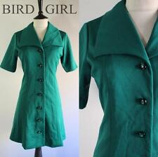 BIG COLLAR 1960S VINTAGE FOREST GREEN BUTTON THROUGH MOD SCOOTER DRESS 10-12