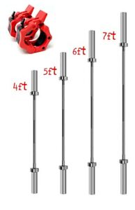 Olympic-Bar-2-034-Barbell-Weight-Lifting-Pull-Up-Set-Squat-4ft-5ft-6ft-7ft-Bar-bars
