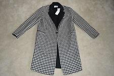 Sandro Houndstooth Black White Wool Long Trench Coat Womens EU 40 UK 12 BNWT New