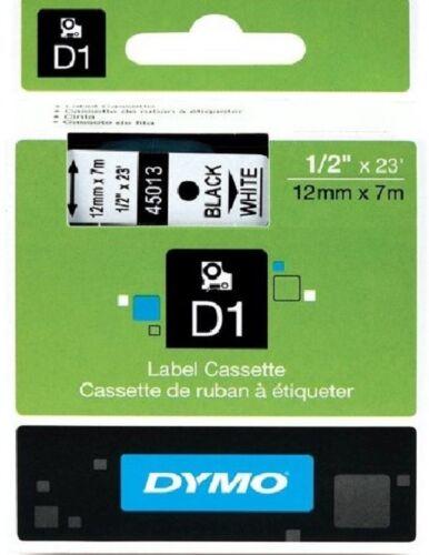 ORIGINAL DYMO D1 LABEL 12mm x 7M 45013 TAPE BLACK WHITE BLANC NOIR NON FADING