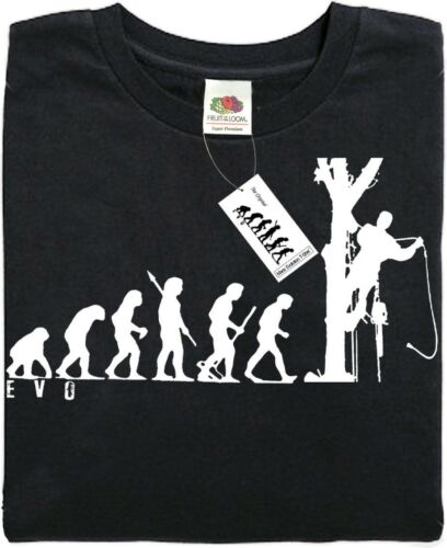 TREE SURGEON - Mans Evolution T-Shirt® (ape) - Black - present gift.Brand new