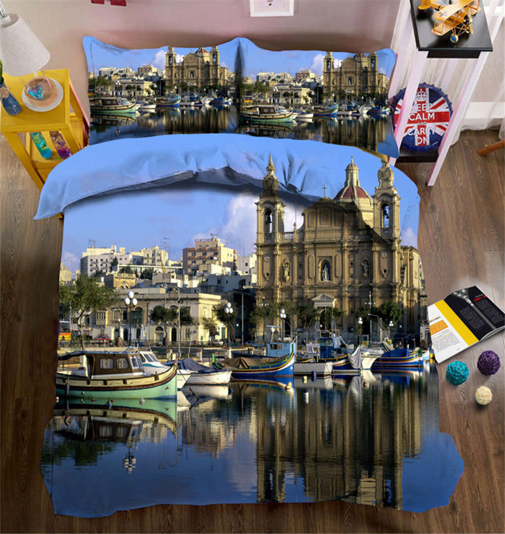 Watery Castle 3D Printing Duvet Quilt Doona Covers Pillow Case Bedding Sets
