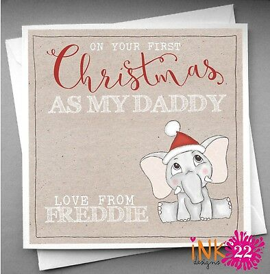Personalised Daddy/'s First 1st Christmas Card Any Name Any message
