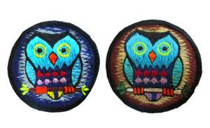 Aufnaeher-EULE-Owl-Uhu-Kauz-Sticker-Schuhu-Hippie-Schleiereule-Kautz-Nepal-Indien