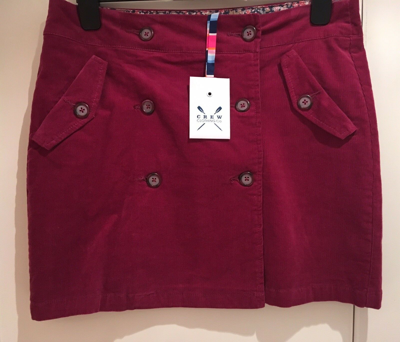 Crew Clothing Co. Judita Raspberry Cotton Cord  Skirt UK Size 12 BNWT