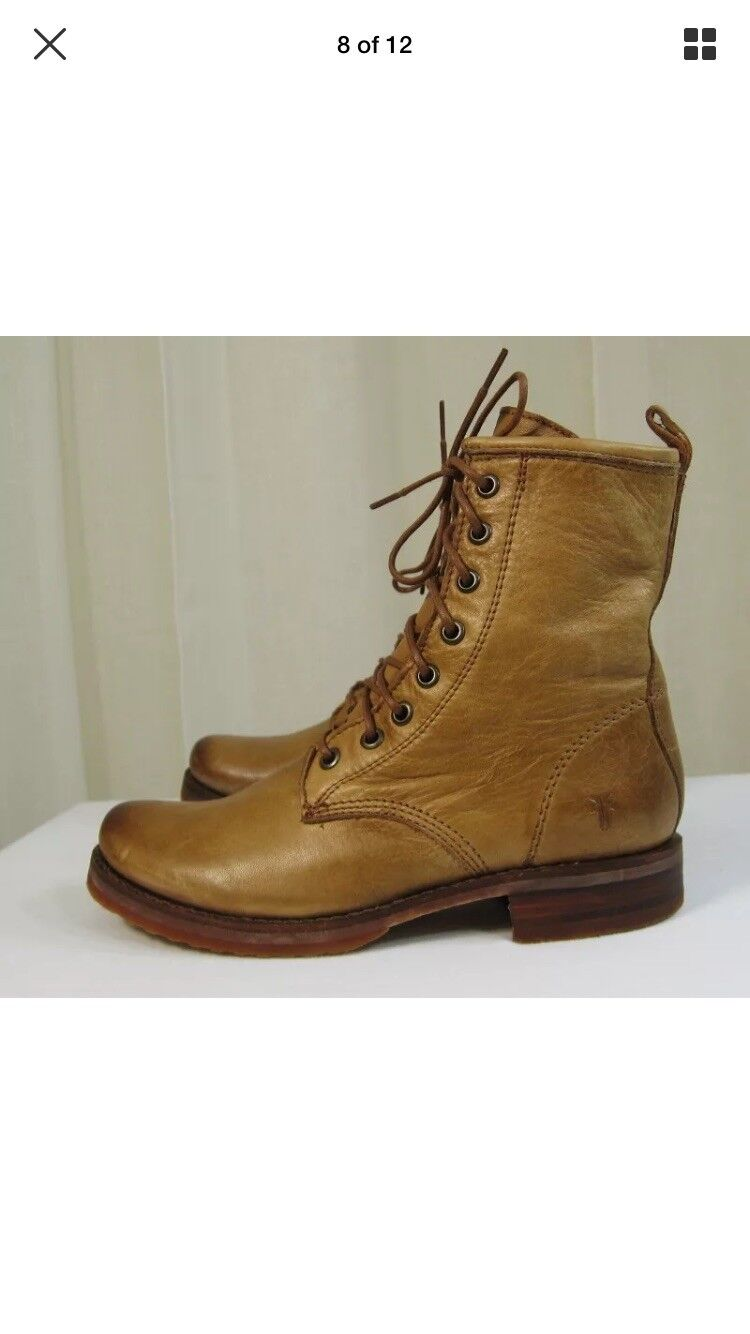 NEW FRYE Womens Veronica Combat Camel Leather Lace-up Ankle Boot Size 11.  278