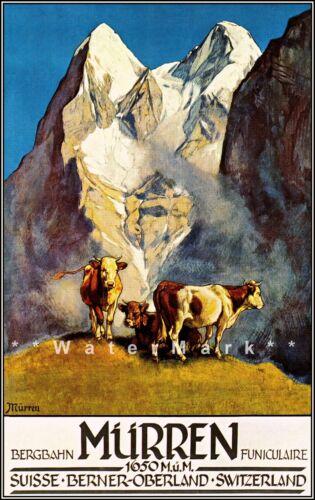 Switzerland Murren 1925 Schweiz Berner Oberland Vintage Poster Print Travel