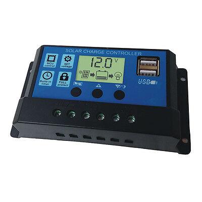10A 20A 30A 12V/24V Solar Panel Charger Controller Battery Regulator USB LCD New