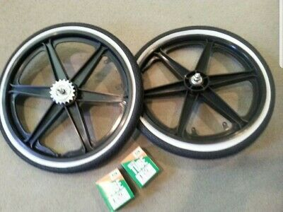 "NEW 20/"" MAG WHEELS 6 SPOKE BLUEWALL TIRES TUBES FOR GT DYNO HARO BMX BICYCLES"