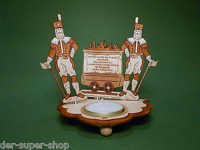 Teelichthalter aus Holz Bergmann Motiv mit Spruch und Teelicht Original 70270