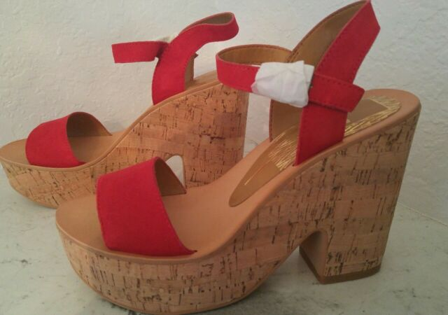 2ac78d374af Dolce Vita Randi Suede Platform Strappy Cork Wedge Open Toe 7.5 RED NWT  WITH BOX