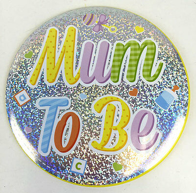 "6"" Jumbo Big Baby Shower Badge - Mum To Be / New Mummy / Party Games Badges"