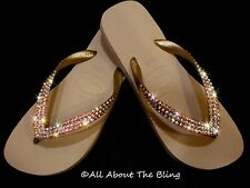 Havaianas  flip flops KHAKI BEIGE embellished with IRIDESCENT Swarovski Crystals